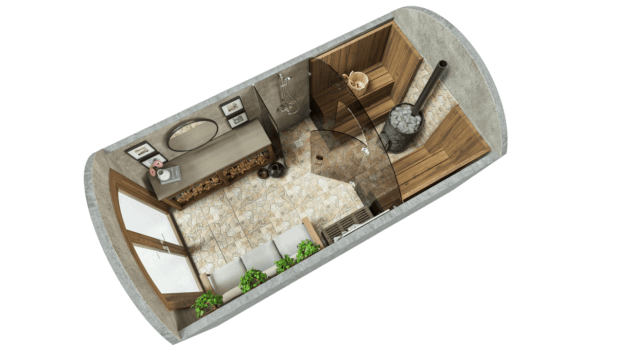 Sauna 9,7 m² PERUSPAKETTI (laseilla)